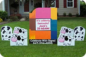Happy Birthday Cow Yard Sign