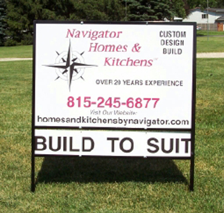 Custom metal lawn sign for Navigator Homes & Kitchens