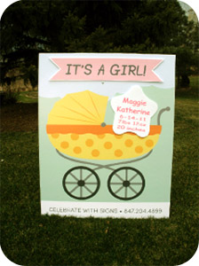 Girl Baby Carriage Lawn Sign