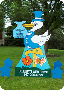 Baby Shower Storks Yard Sign