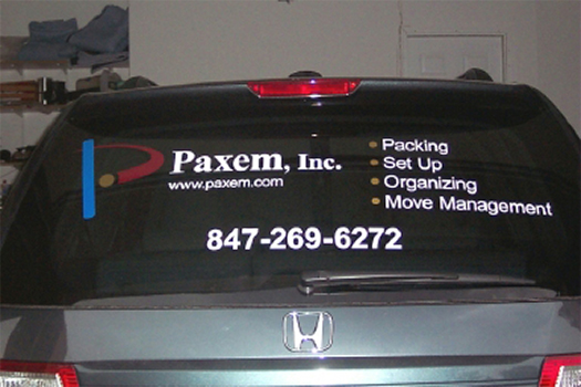 Custom Vinyl Lettering on Back Window of Paxem Car