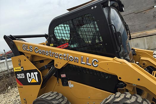 Custom Vinyl Lettering on Construction Vehicle for GLS Construction