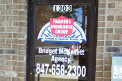 Window lettering for Farmer's Insurance Office